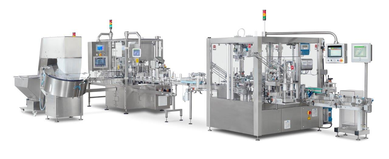 Compact Filling Line - Unscrambler, Counter, Checkweigher, Capper, Cartoner Raupack UK and Ireland